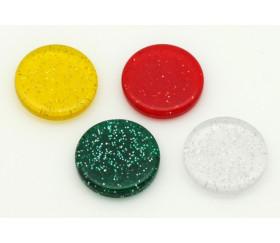Jeton pailleté blanc translucide 25 x 5 mm galets