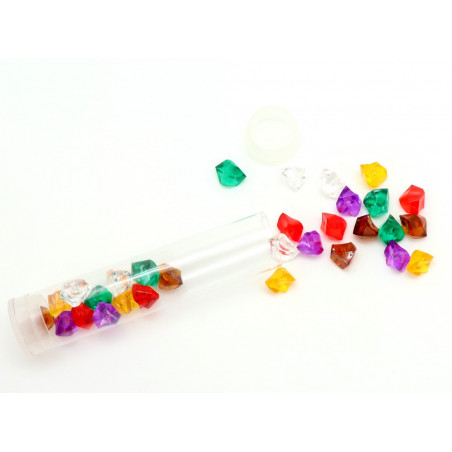 Tube 30 Mini gems multicolores pépites