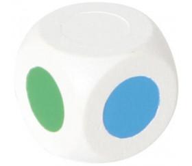 Dé 4 points couleurs 18 mm RVBJ et 2 blancs