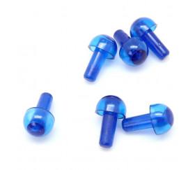 6 pions forme champignon bleu translucide à encastrer 15 x 9.5 mm