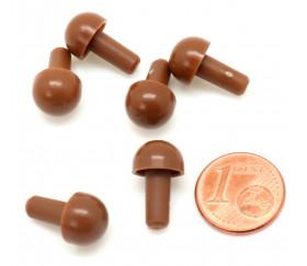 6 pions forme champignon marron à encastrer 15 x 9.5 mm