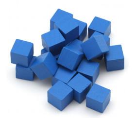 Cubes en bois bleu 0.8 cm. 8x8x8 mm lot 20