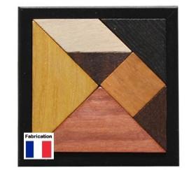 Tangram en bois avec cadre 12 cm du Jura