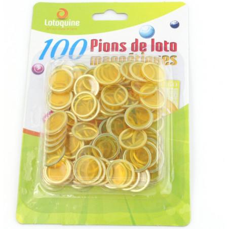 Pions jaunes magnétiques ronds loto super qualité - 100 jetons