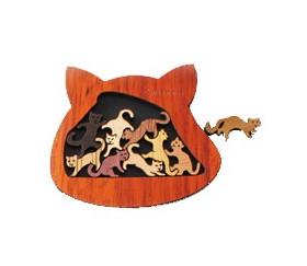 Casse tête chat en bois