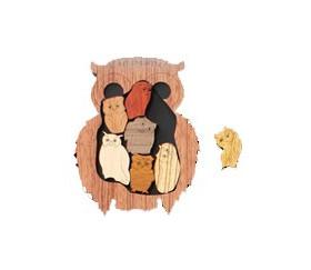 Casse tête chouettes en bois