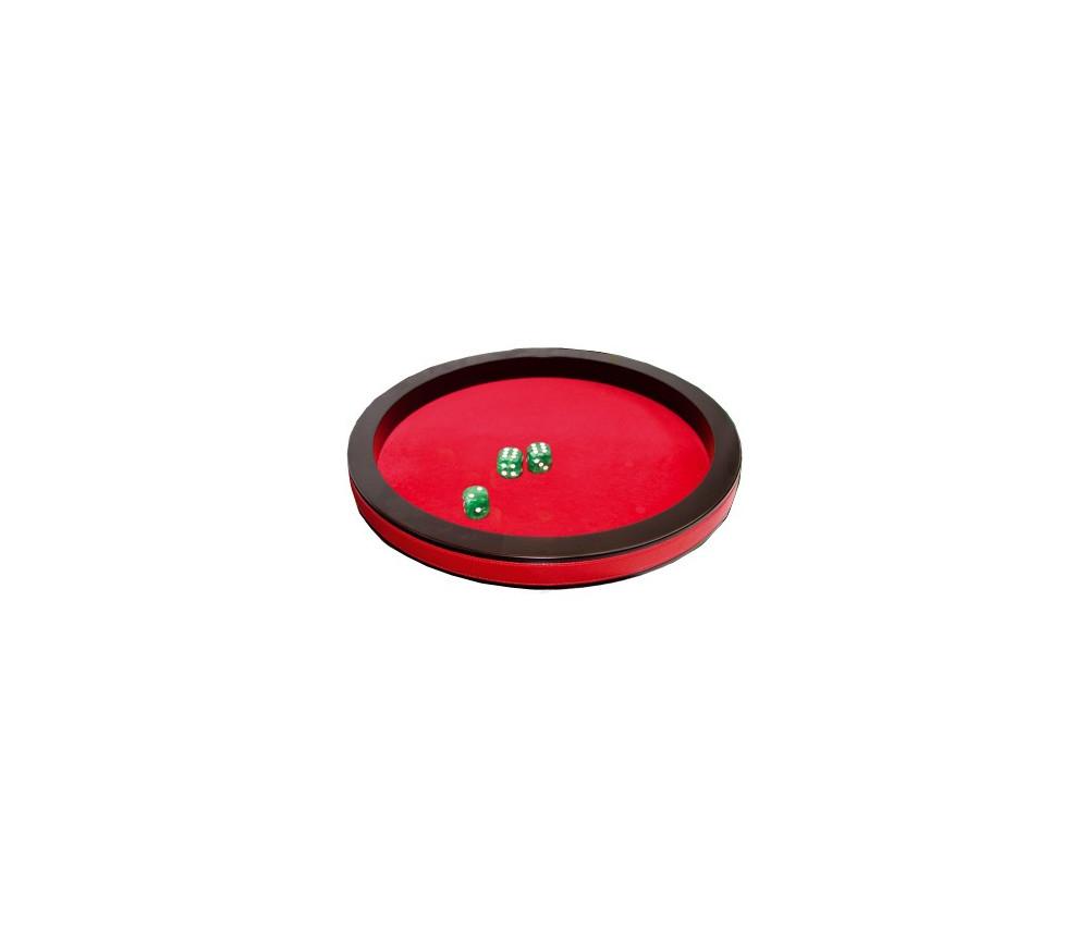 Piste dés 30 cm prestige rouge tour cuir avec 3 dés
