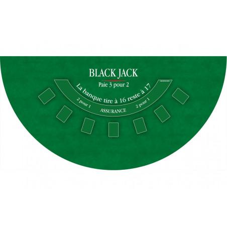 Tapis de jeu BlackJack vert 140 x 70 mm