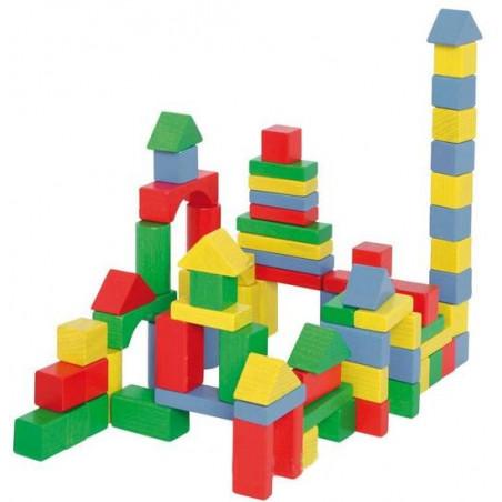 50 blocs de construction en bois coloré pour jeux