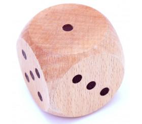 Dé géant en bois 5 cm 1 à 6 pour jeu  - 50 mm