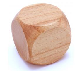 Grand dé vierge 50 mm en bois naturel neutre 5 cm