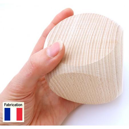 Grand dé vierge 75 mm en bois naturel neutre 7.5 cm