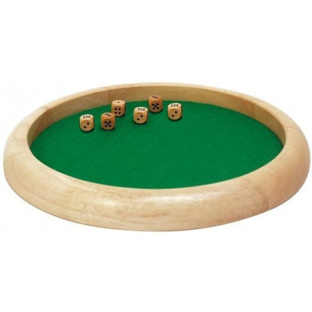 Piste dés en bois ronde de 30 cm avec 6 dés bois