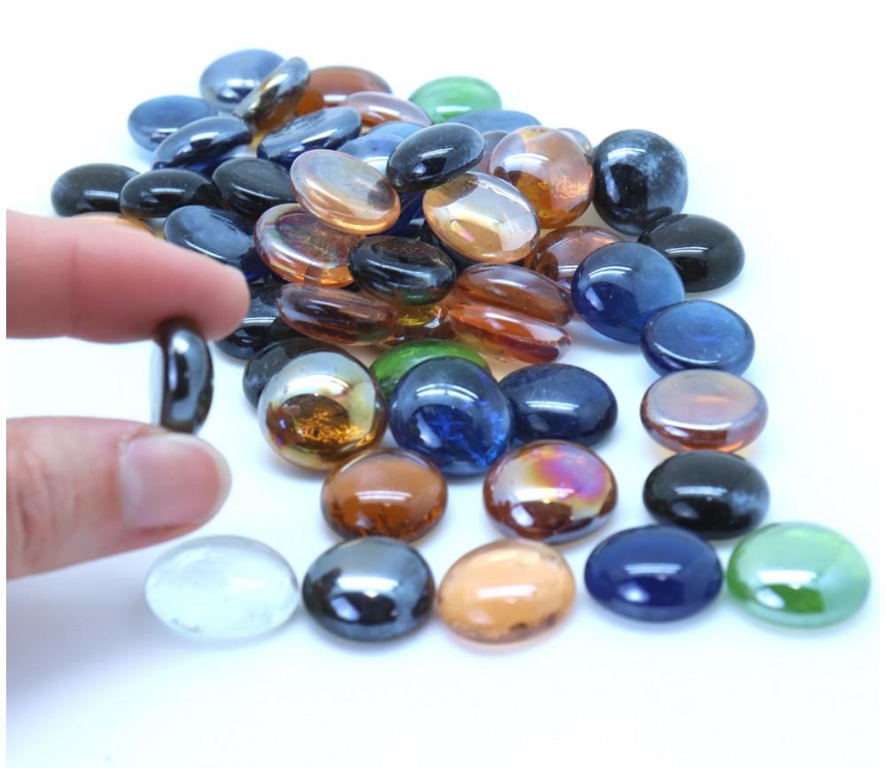 Galets multicolores lot de 55 à 60 billes plates pour jeu