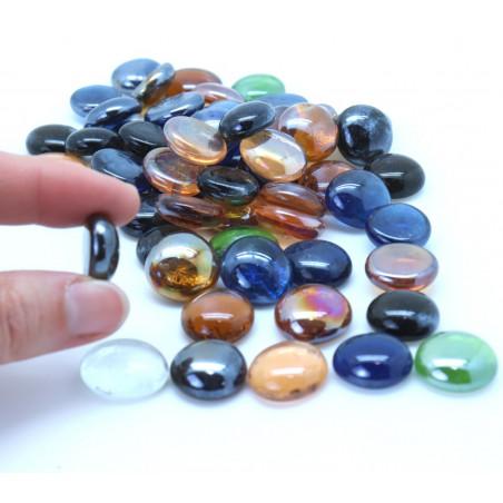 Galets multicolores lot de 50 à 55 billes plates pour jeu environ 20 mm