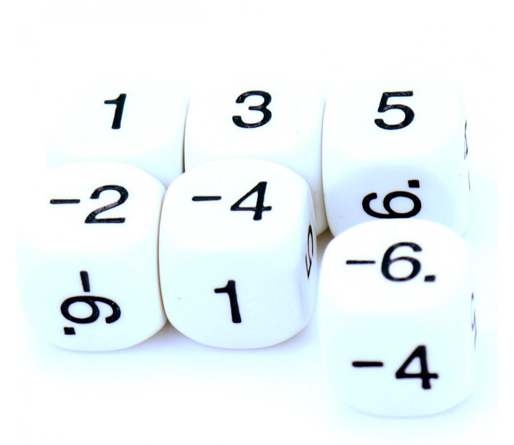 Dé 1 3 5 -2-4-6 impair positif et pair négatif en 16 mm