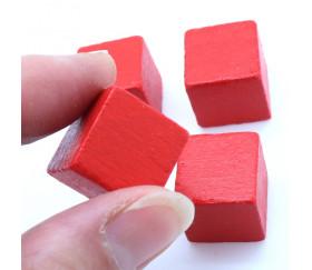 Cube en bois rouge 1.6 cm. 16 x 16 x 16 mm
