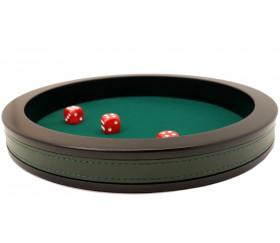 Piste de dés luxe verte et noire 30 cm tour cuir