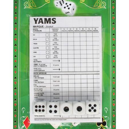 Jeu yams pas cher : 5 dés + feuilles marquage des points