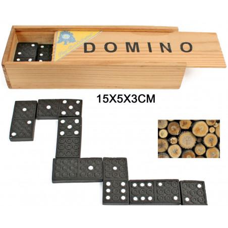 Jeu de dominos coffret bois - domino 4.7 x 2.2 cm