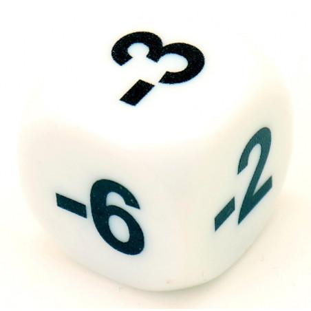 Dé -1 -2 -3 -4 -5 -6 chiffres négatifs en 16 mm