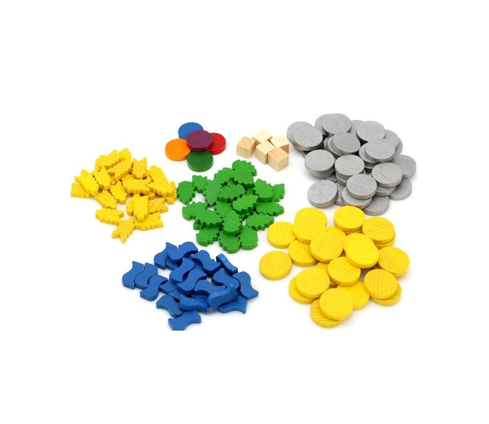 Set 145 ressources de jeux : blé, eau, plante, cubes et jetons