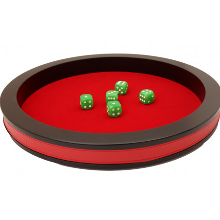 Piste de dés rouge et noir de 43 cm avec 5 dés