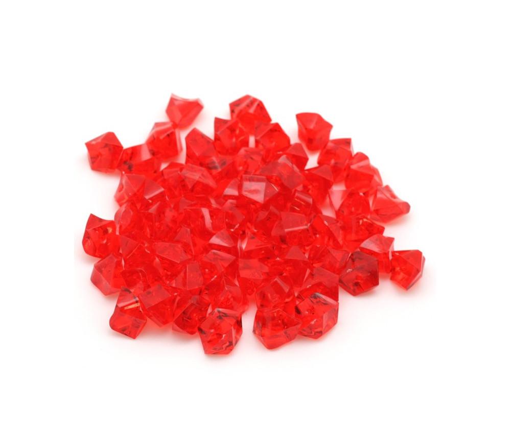 GEM rouge  : 50 mini gemmes translucides pions imitation pierres précieuses pépites