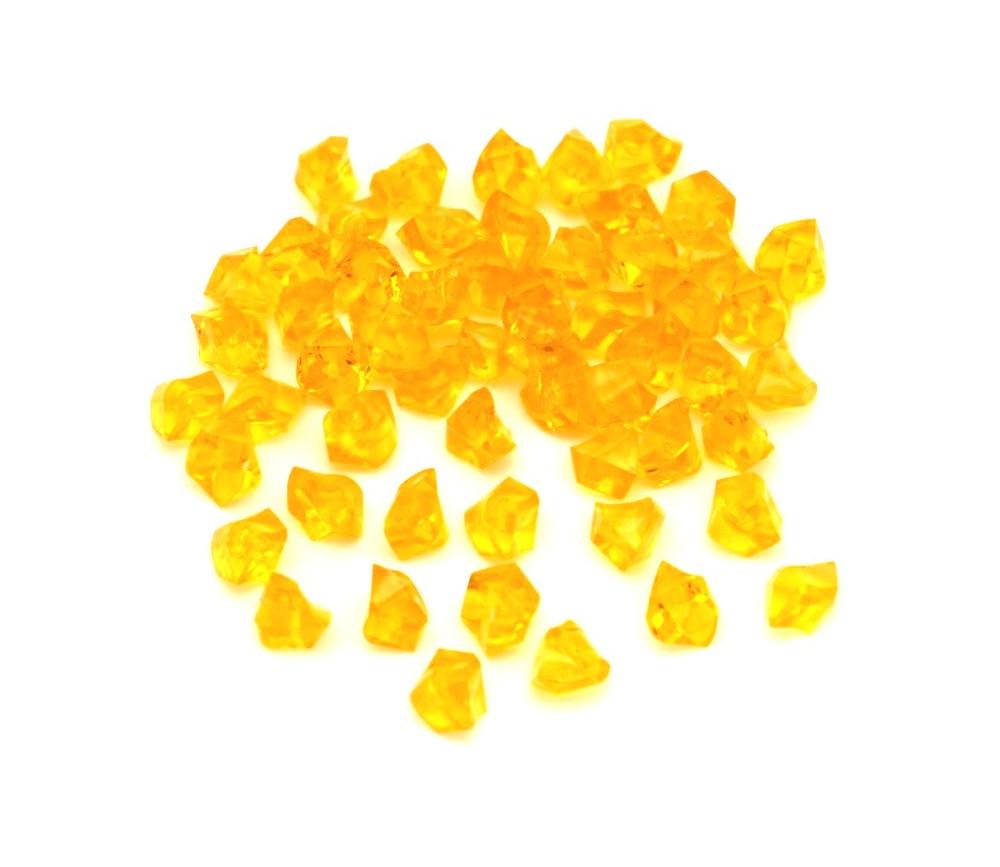 GEM jaune  : 50 mini gemmes translucides pions imitation pierres précieuses pépites