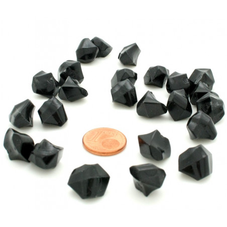 GEM noir  : 50 mini gemmes opaques pions imitation pierres précieuses pépites