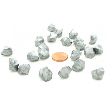 GEM argenté  : 50 mini gemmes opaques pions imitation pierres précieuses pépites