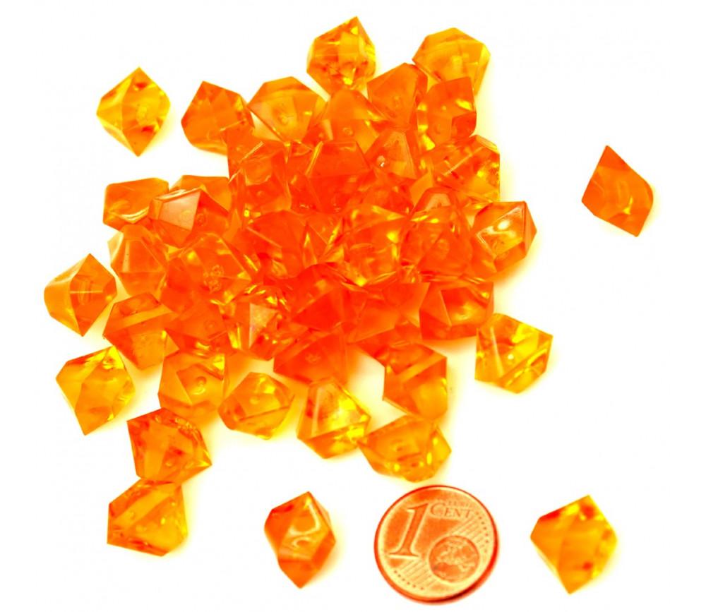 GEM orange  : 50 mini gemmes translucides pions imitation pierres précieuses pépites