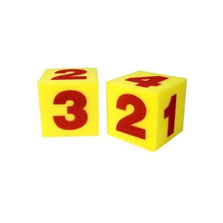 2 Dés 15 cm géant mousse jaune avec chiffres 1 à 6