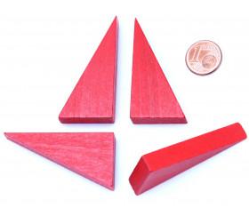 Triangle rectangle en bois rouge 46 x 24 mm de côté 8 mm épaisseur