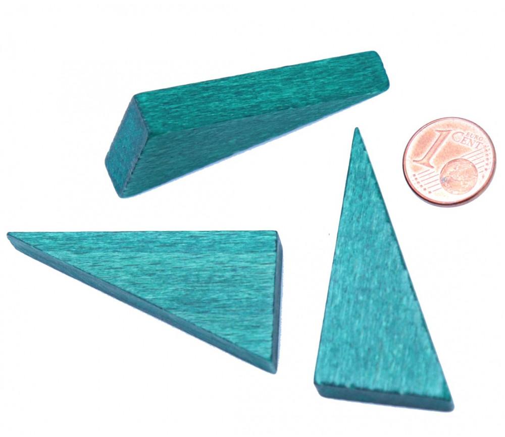 Triangle rectangle en bois vert 46 x 24 mm de côté 8 mm épaisseur
