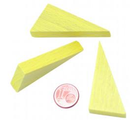Triangle rectangle en bois jaune 46 x 24 mm de côté 8 mm épaisseur