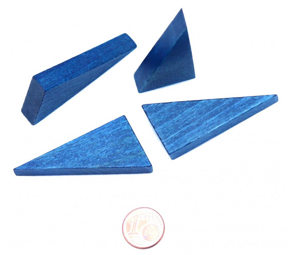Triangle rectangle en bois bleu 46 x 24 mm de côté 8 mm épaisseur