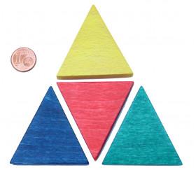 Triangle isocèle en bois bleu 48 x 48 x 53 mm et 8 mm épaisseur