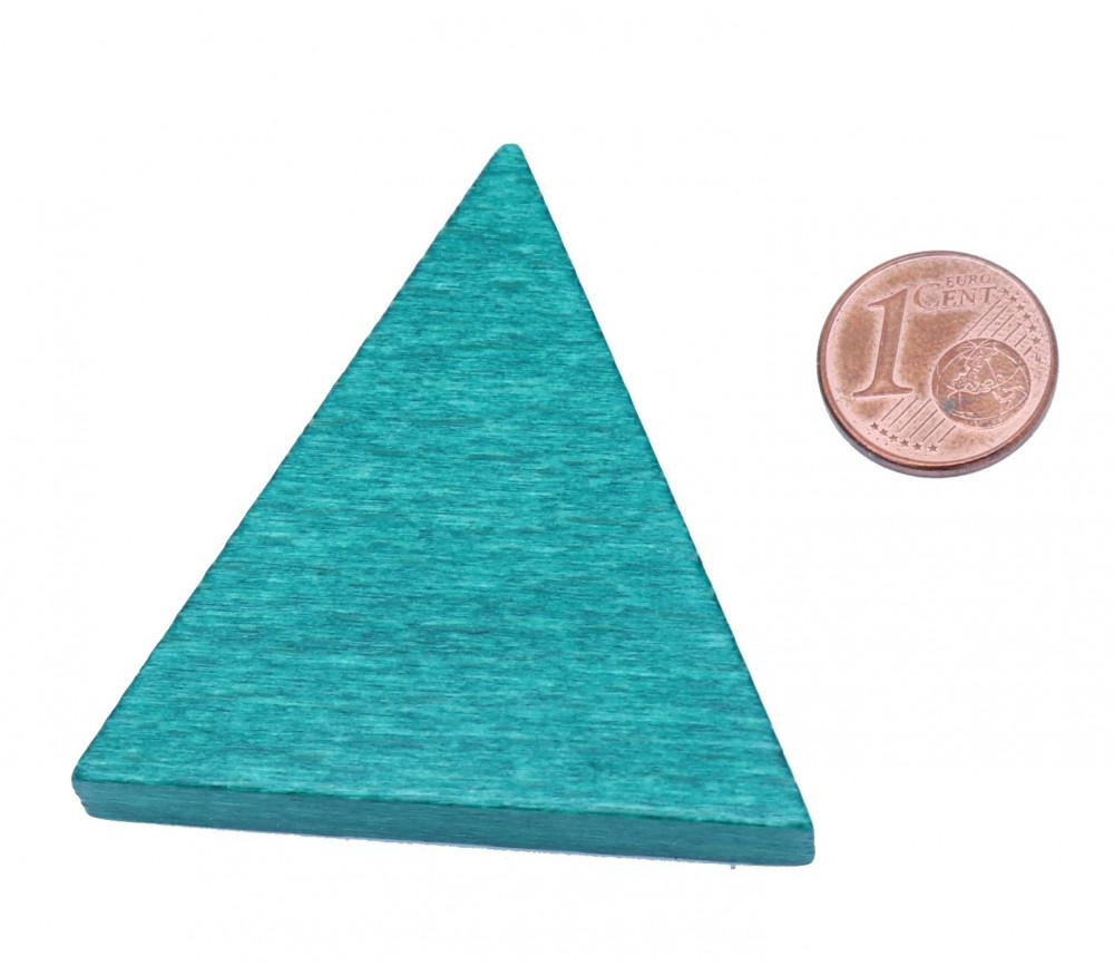 Triangle isocèle en bois vert 48 x 48 x 53 mm et 8 mm épaisseur