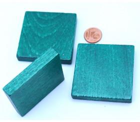 Carré plat vert de 48 x 48 x 8 mm en bois à l'unité