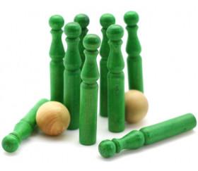 Jeu de 9 Mini Quilles bois en vert 6.5 cm + 2 boules