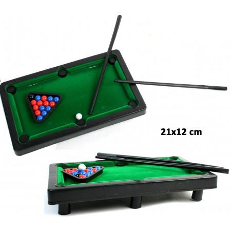 Mini billard de table 21 x 12 cm avec pied - piste feutrine