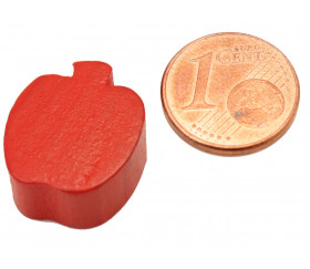 Pomme en bois rouge de 16x18x8 mm