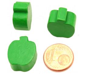 Pomme en bois verte de 16x18x8 mm