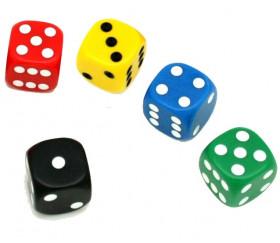 Dé à jouer noir ou couleurs 18 mm points de 1 à 6 pour jeu de société