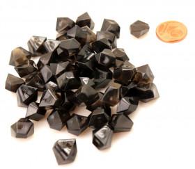 GEM noir translucide : 50 mini gemmes pions imitation pierres précieuses pépites