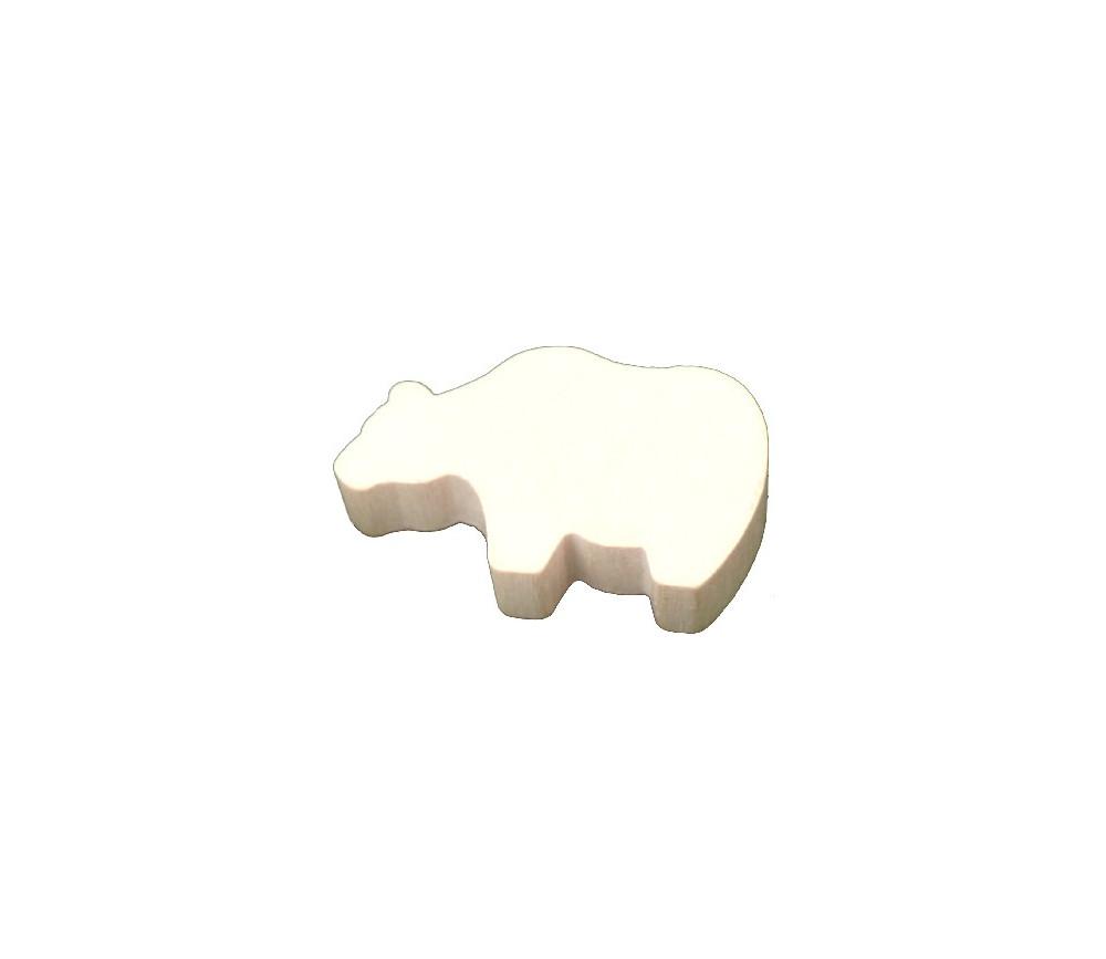 Pion ours blanc en bois pour jeu grizzli polaire