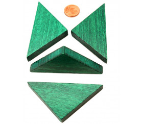 Triangle rectangle isocèle vert 67 x 47 x 8 mm en bois