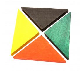 Triangle rectangle isocèle orange 67 x 47 x 8 mm en bois