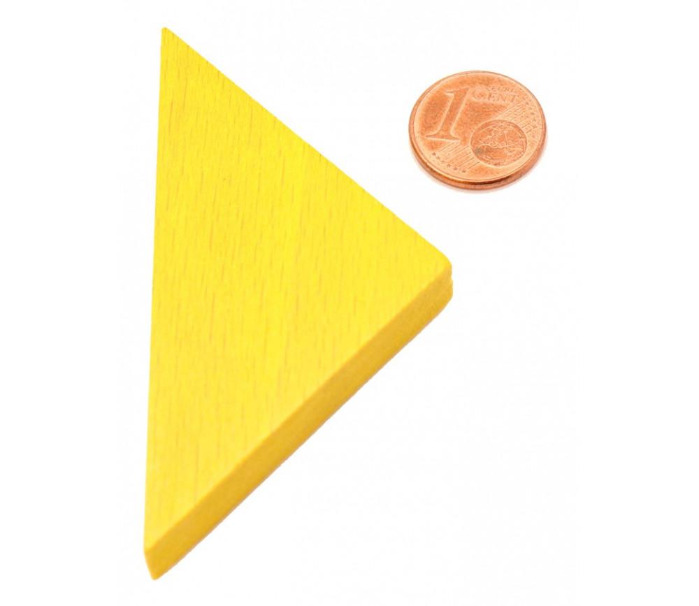 Triangle rectangle isocèle jaune 67 x 47 x 8 mm en bois